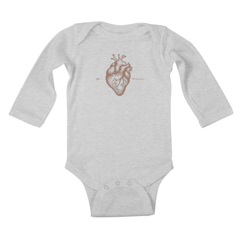 FLATLINE HEART Kids Baby Longsleeve Bodysuit by TODD SARVIES BAND APPAREL