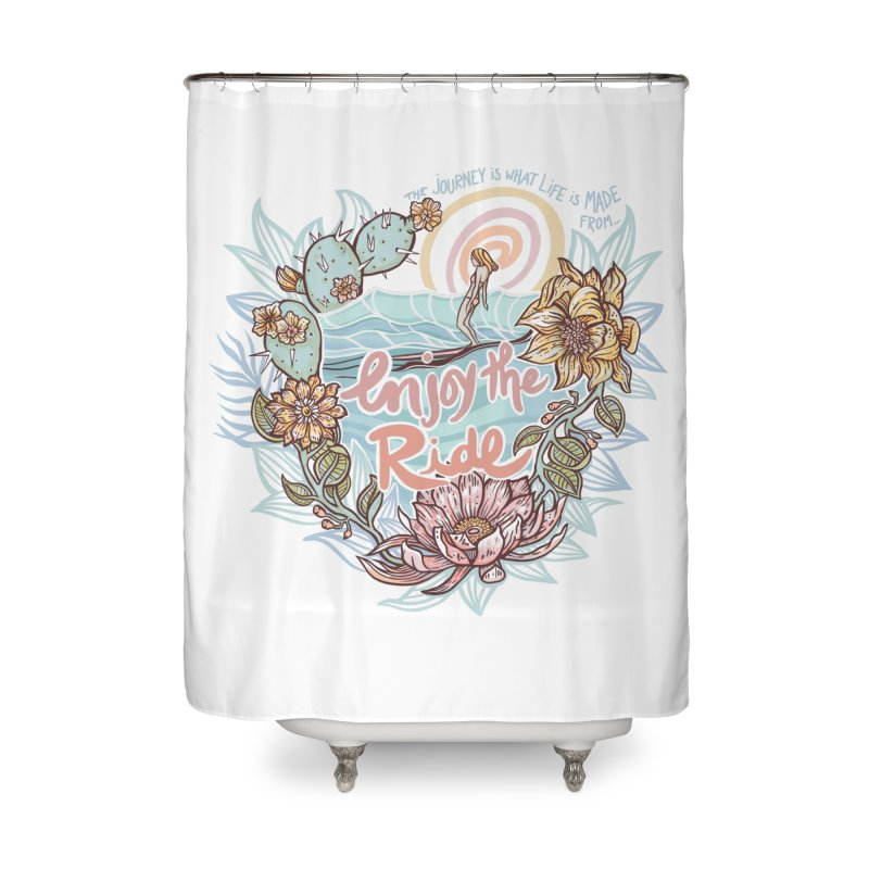 Enjoy the Ride Home Shower Curtain by Chapman at Sea // surf art by Tash Chapman