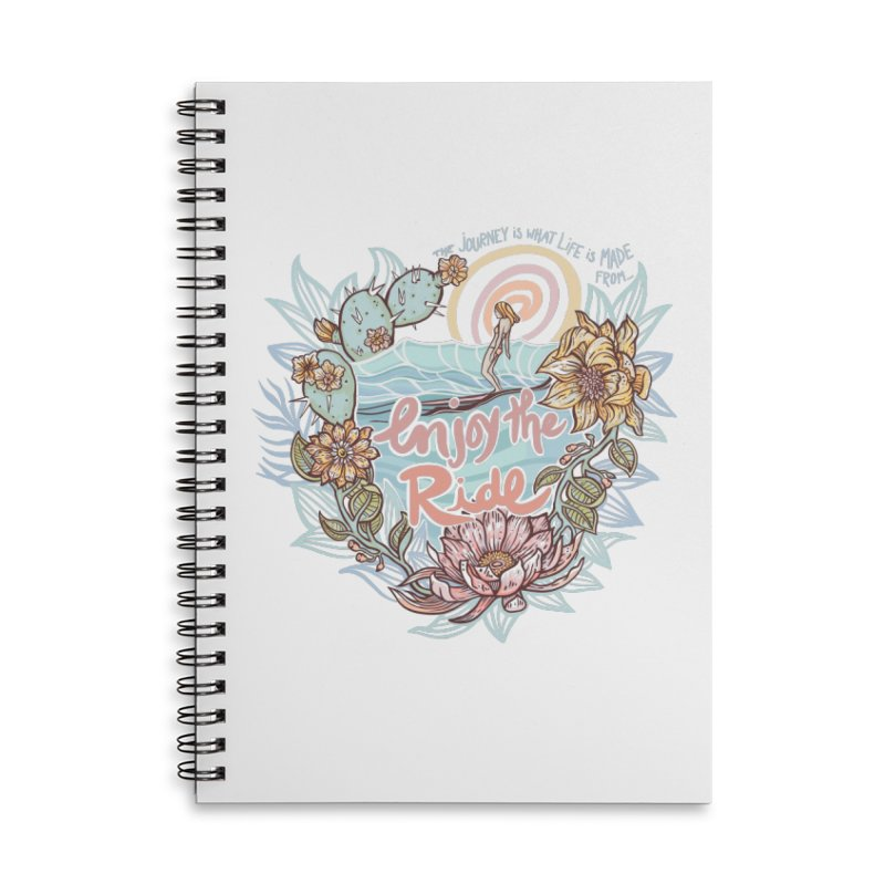 Enjoy the Ride Accessories Lined Spiral Notebook by Chapman at Sea // surf art by Tash Chapman
