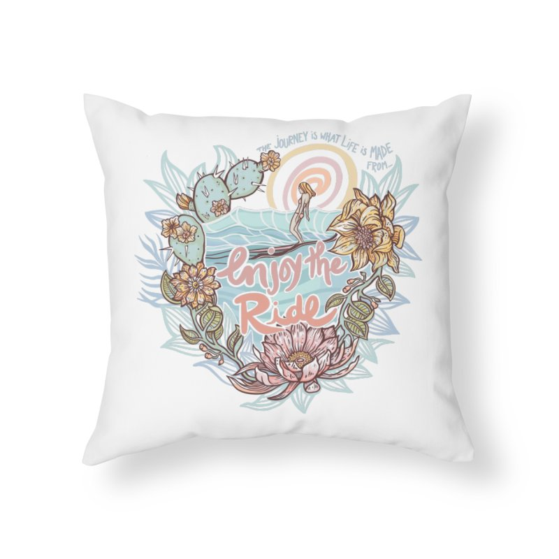 Enjoy the Ride Home Throw Pillow by Chapman at Sea // surf art by Tash Chapman