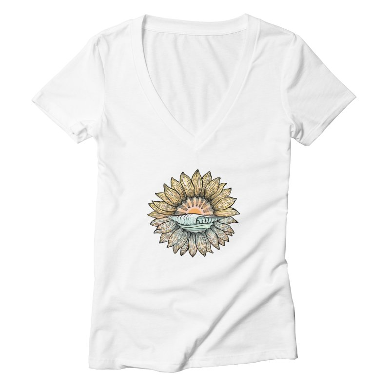 SwellFlower Women's V-Neck by Chapman at Sea // surf art by Tash Chapman