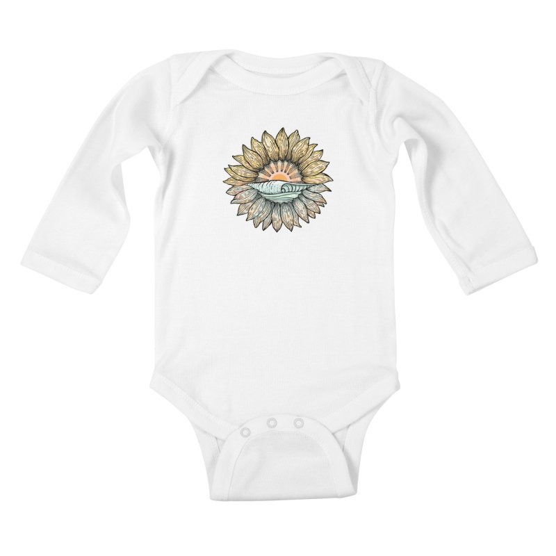 SwellFlower Kids Baby Longsleeve Bodysuit by Chapman at Sea // surf art by Tash Chapman