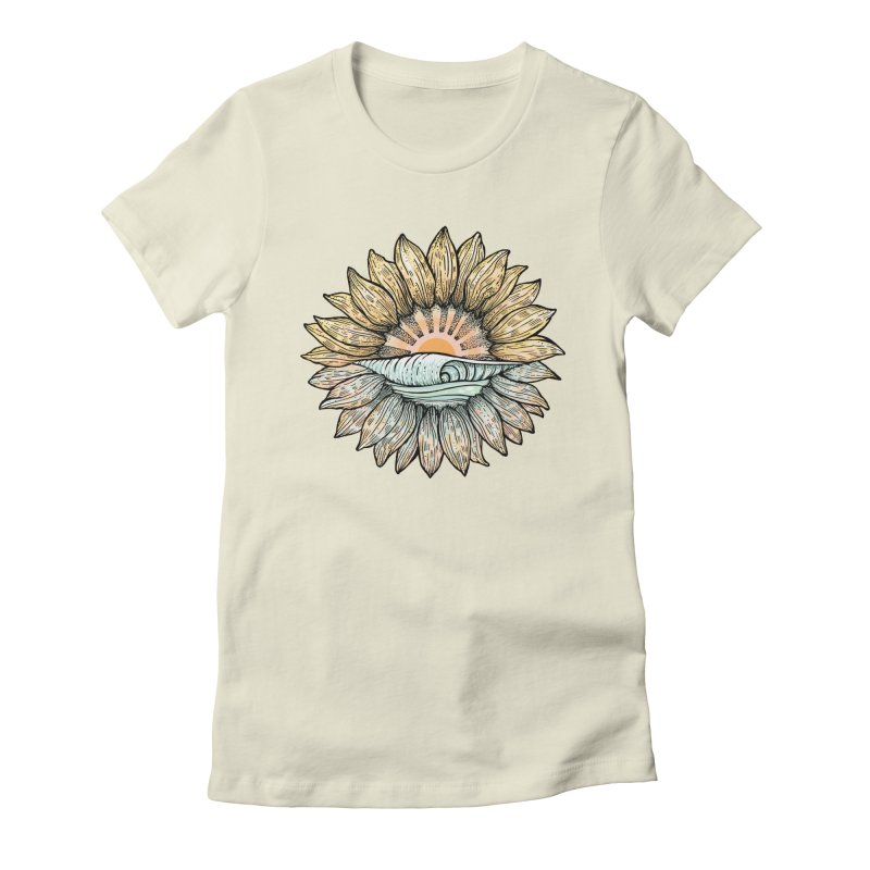 SwellFlower in Women's Fitted T-Shirt Natural by Chapman at Sea // surf art by Tash Chapman