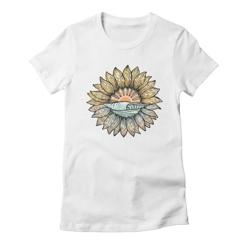 SwellFlower Women's Fitted T-Shirt by Chapman at Sea // surf art by Tash Chapman