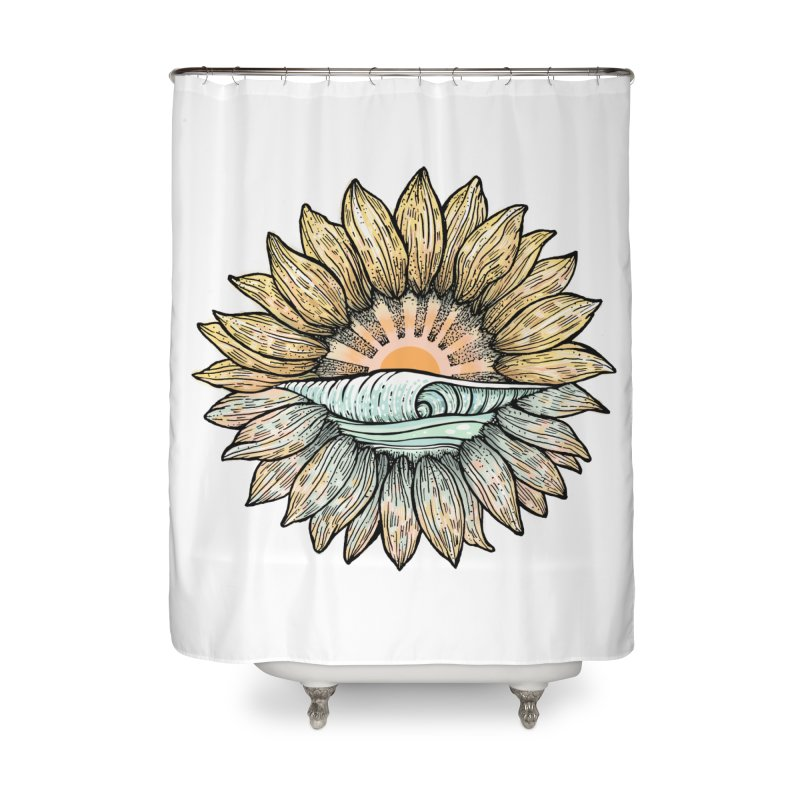 SwellFlower Home Shower Curtain by Chapman at Sea // surf art by Tash Chapman