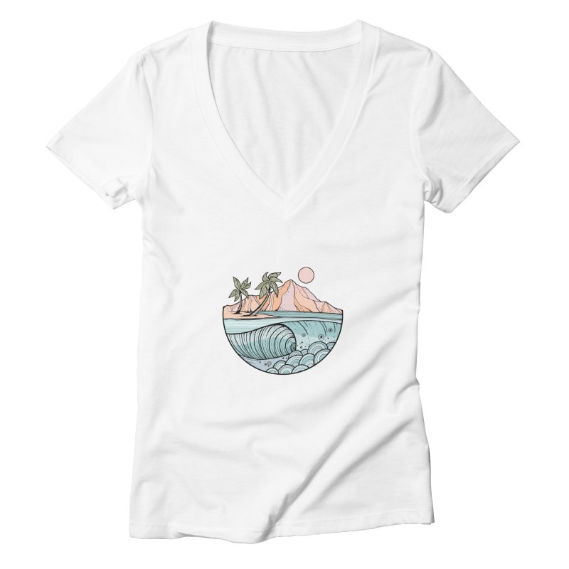 Aloha Swell Women's V-Neck by Chapman at Sea // surf art by Tash Chapman