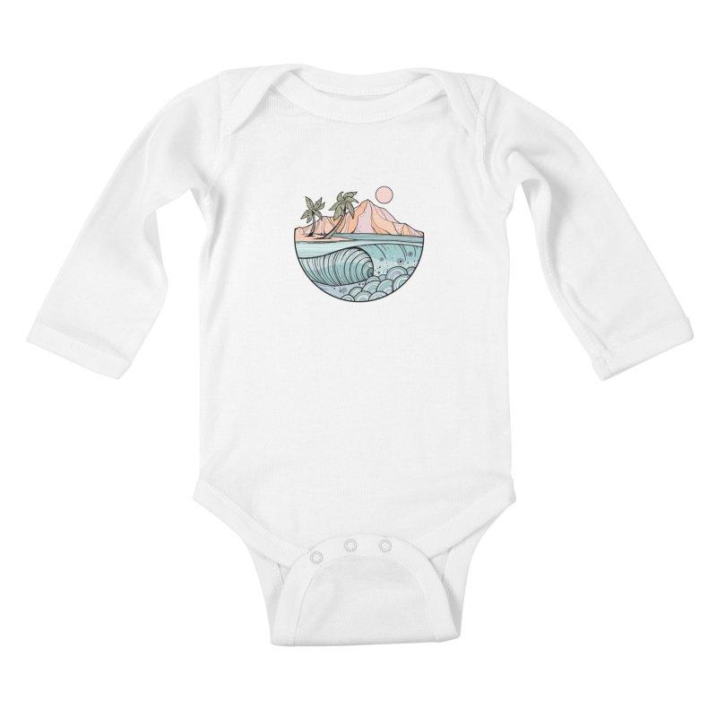 Aloha Swell Kids Baby Longsleeve Bodysuit by Chapman at Sea // surf art by Tash Chapman