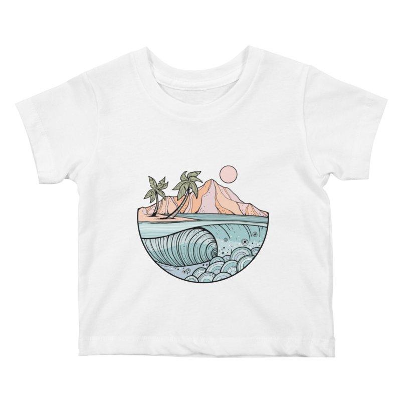 Aloha Swell Kids Baby T-Shirt by Chapman at Sea // surf art by Tash Chapman