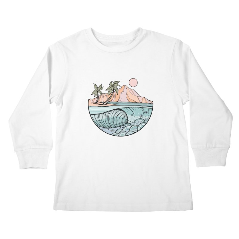 Aloha Swell Kids Longsleeve T-Shirt by Chapman at Sea // surf art by Tash Chapman