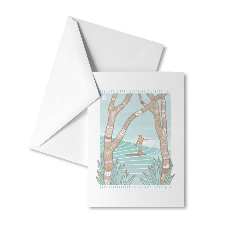 Secret Spot Accessories Greeting Card by Chapman at Sea // surf art by Tash Chapman