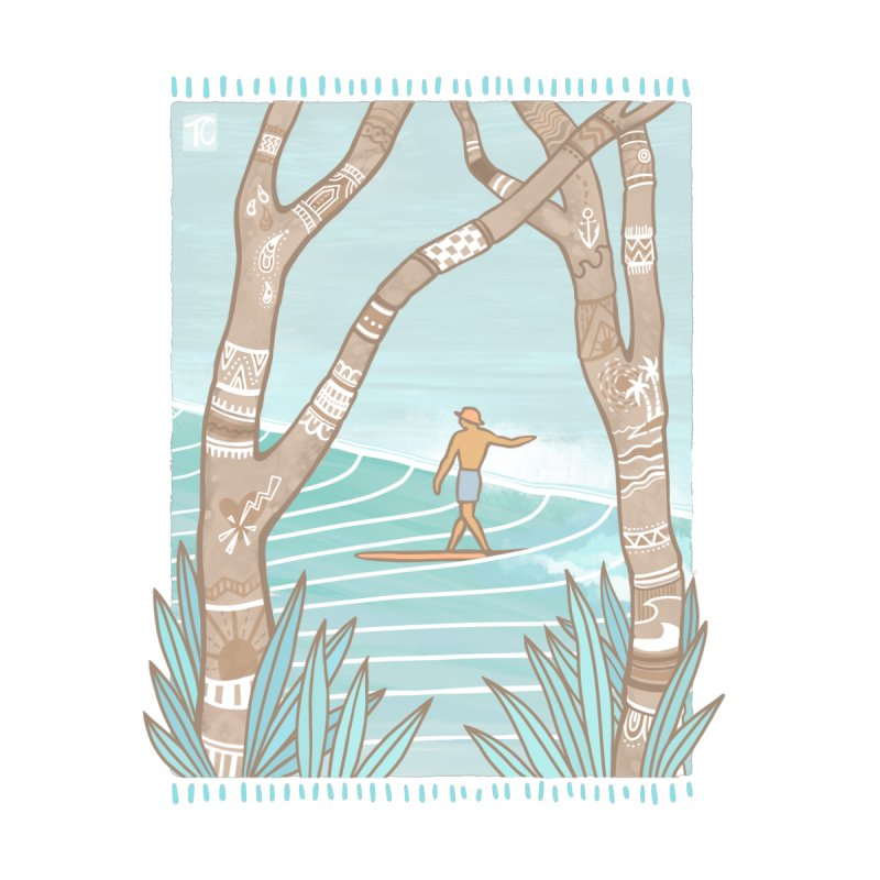 Secret Spot Home Throw Pillow by Chapman at Sea // surf art by Tash Chapman
