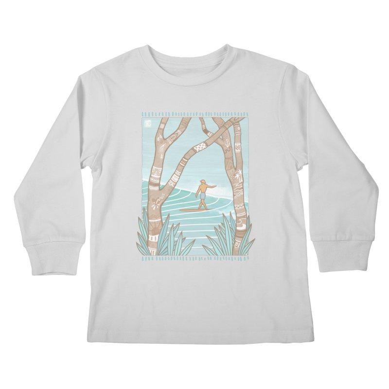 Secret Spot Kids Longsleeve T-Shirt by Chapman at Sea // surf art by Tash Chapman