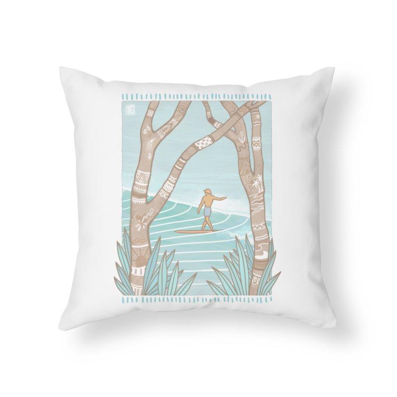 Secret Spot Home Throw Pillow by Chapman at Sea // surf art by Tash Chapman
