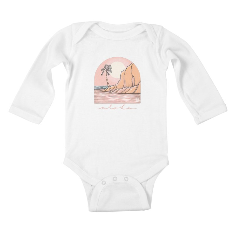 Moon Over Aloha Kids Baby Longsleeve Bodysuit by Chapman at Sea // surf art by Tash Chapman