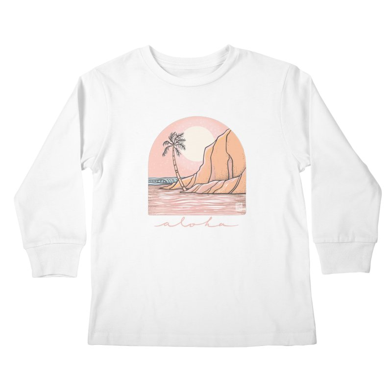 Moon Over Aloha Kids Longsleeve T-Shirt by Chapman at Sea // surf art by Tash Chapman
