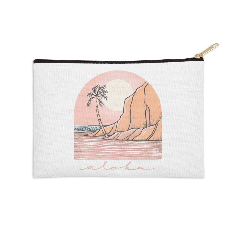 Moon Over Aloha Accessories Zip Pouch by Chapman at Sea // surf art by Tash Chapman