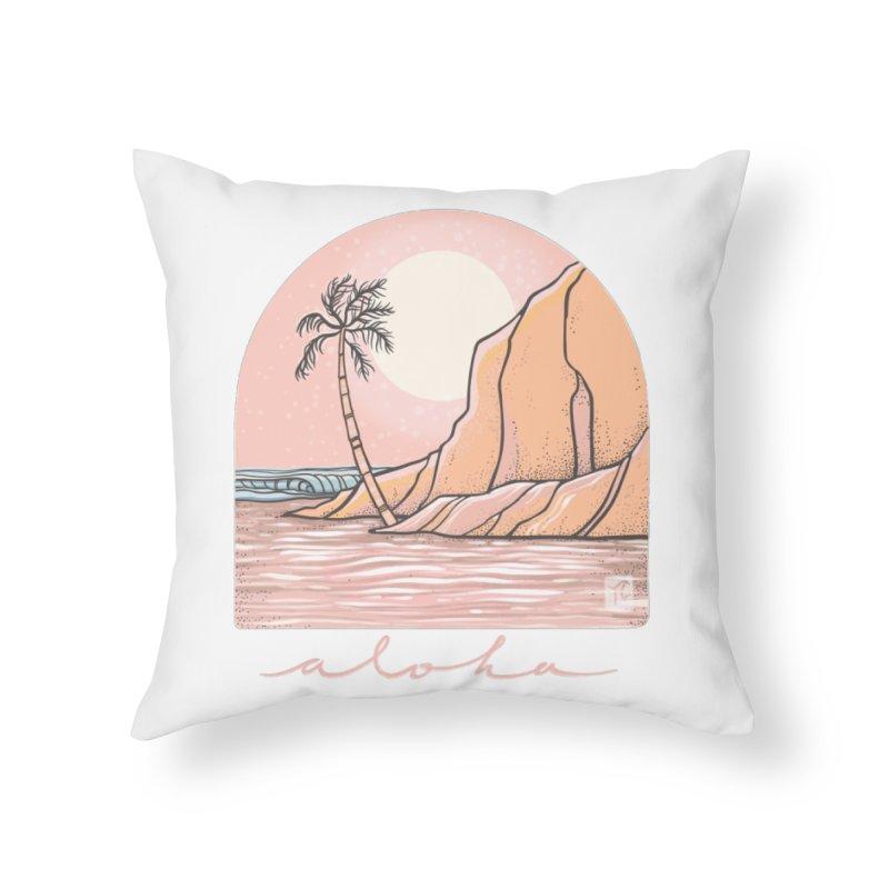 Moon Over Aloha Home Throw Pillow by Chapman at Sea // surf art by Tash Chapman