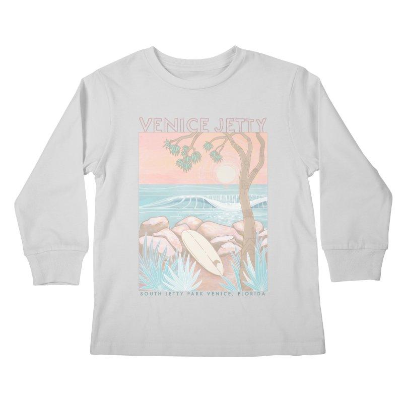 Venice Jetty Kids Longsleeve T-Shirt by Chapman at Sea // surf art by Tash Chapman