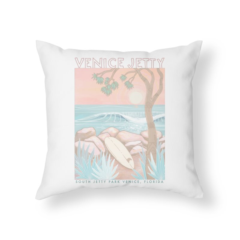 Venice Jetty Home Throw Pillow by Chapman at Sea // surf art by Tash Chapman