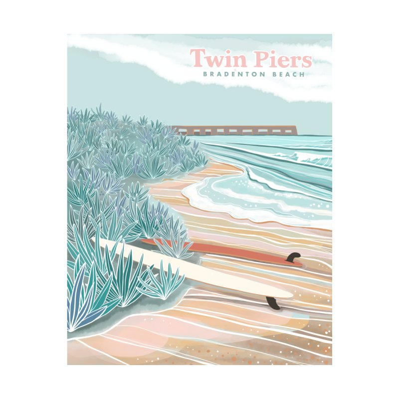 Twin Piers Women's V-Neck by Chapman at Sea // surf art by Tash Chapman