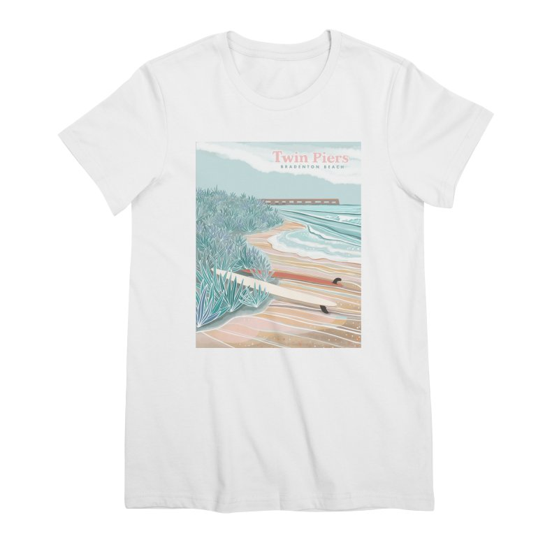 Twin Piers Women's T-Shirt by Chapman at Sea // surf art by Tash Chapman