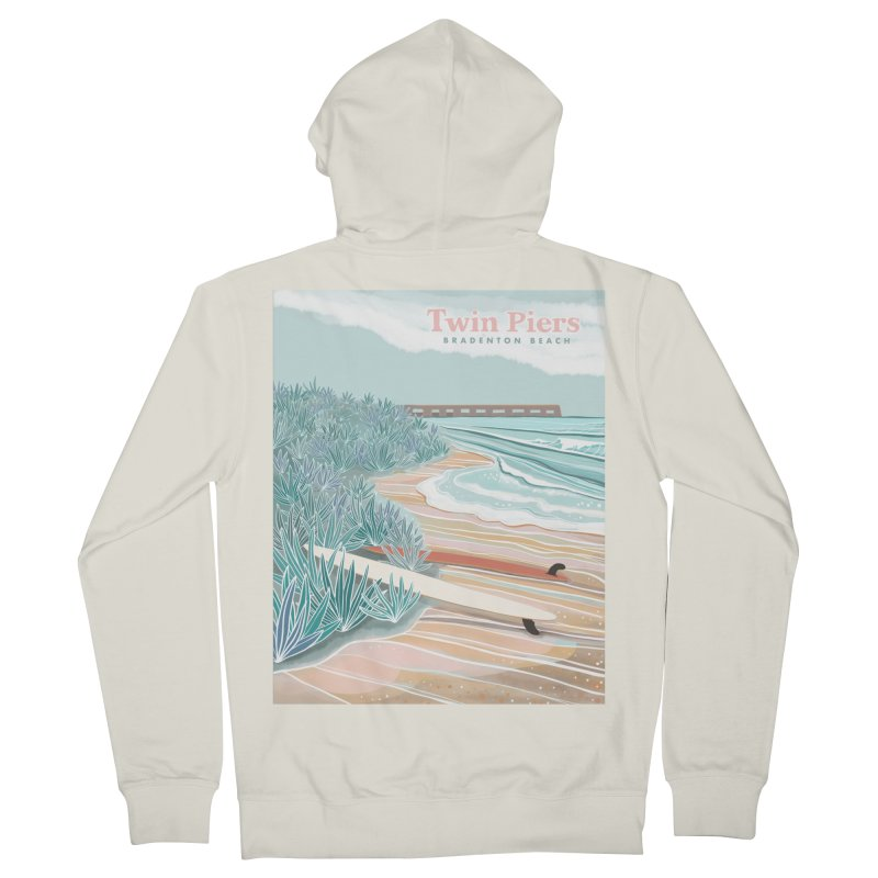 Twin Piers Women's Zip-Up Hoody by Chapman at Sea // surf art by Tash Chapman