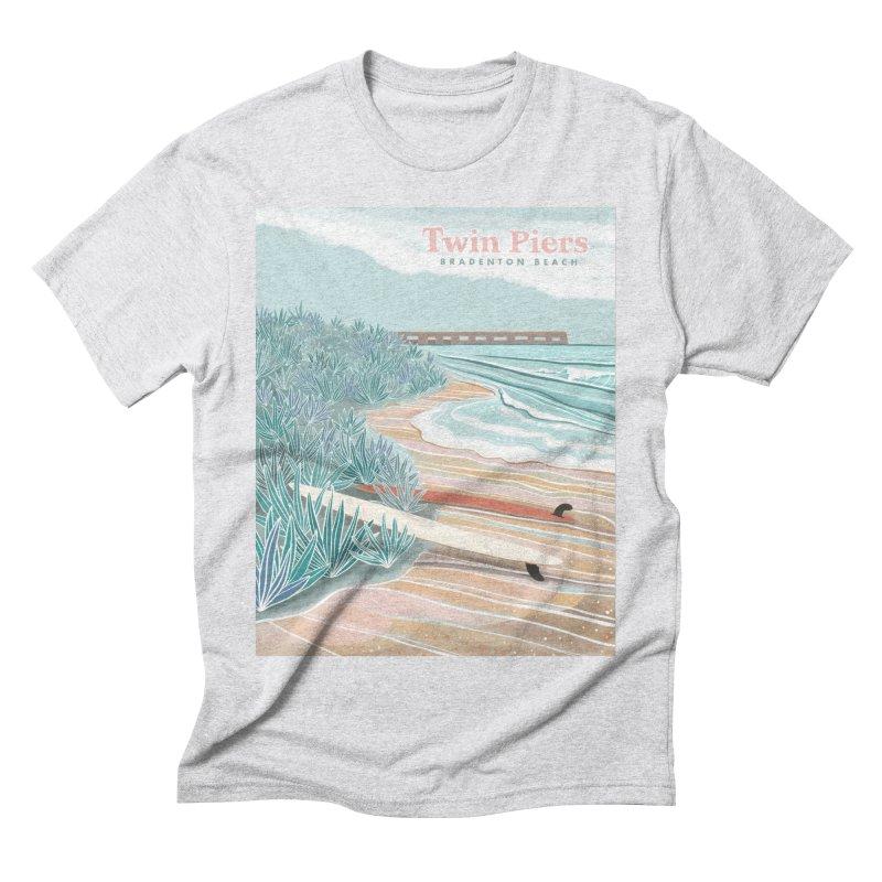 Twin Piers Men's T-Shirt by Chapman at Sea // surf art by Tash Chapman