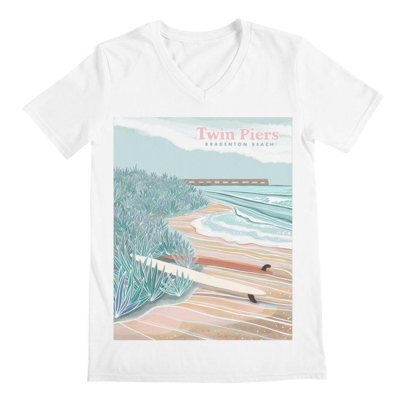 Twin Piers Men's V-Neck by Chapman at Sea // surf art by Tash Chapman