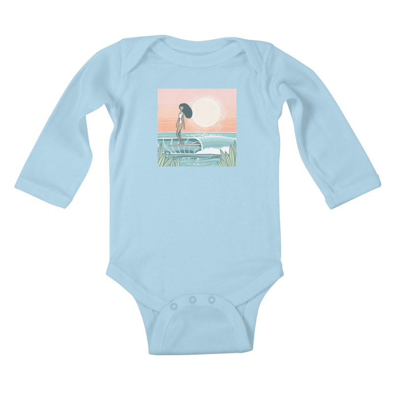 The Islander Kids Baby Longsleeve Bodysuit by Chapman at Sea // surf art by Tash Chapman