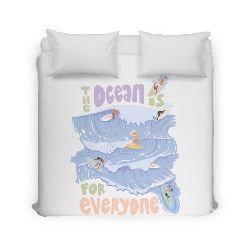 Kindness is Cool Home Duvet by Chapman at Sea // surf art by Tash Chapman