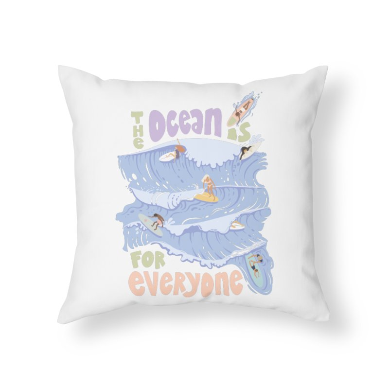 Kindness is Cool Home Throw Pillow by Chapman at Sea // surf art by Tash Chapman