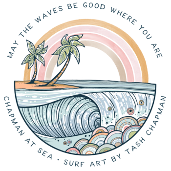 Chapman at Sea // surf art by Tash Chapman Logo