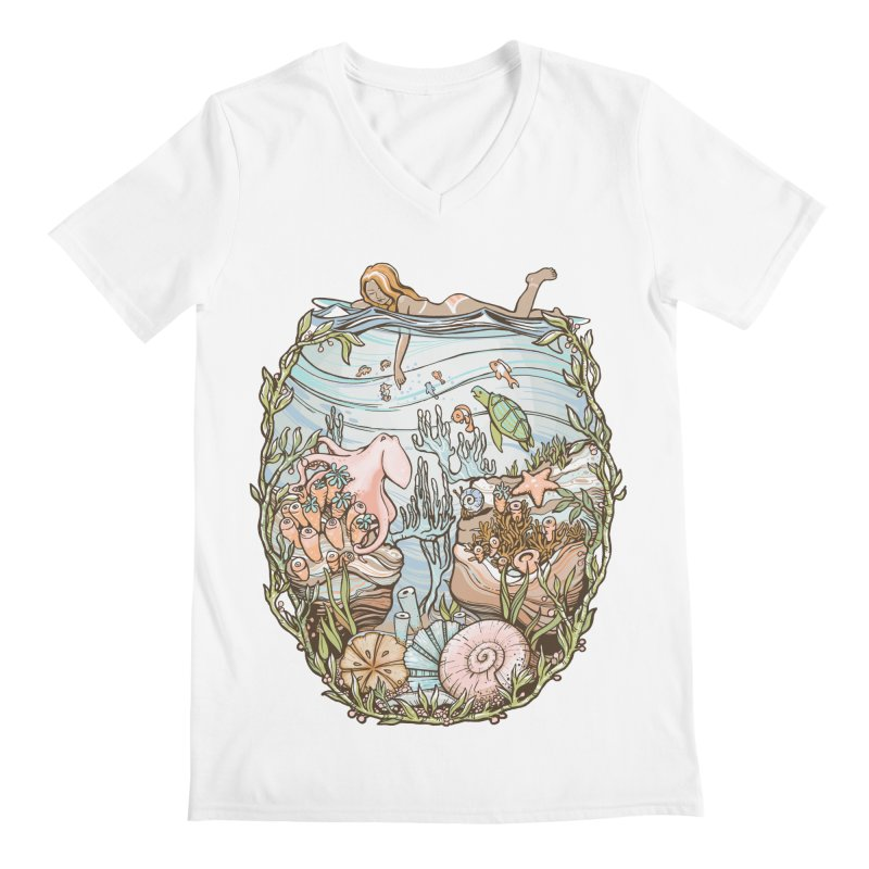 The Peace of Wild Things Men's Regular V-Neck by Chapman at Sea // surf art by Tash Chapman