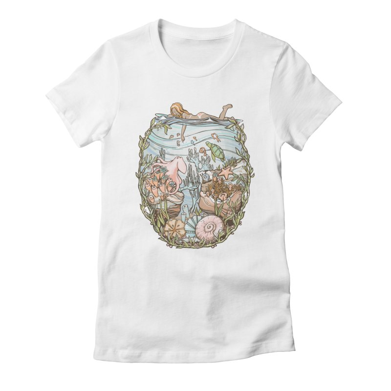The Peace of Wild Things Women's Fitted T-Shirt by Chapman at Sea // surf art by Tash Chapman