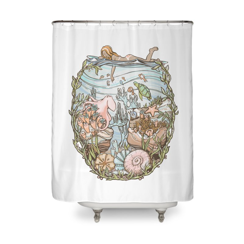 The Peace of Wild Things Home Shower Curtain by Chapman at Sea // surf art by Tash Chapman