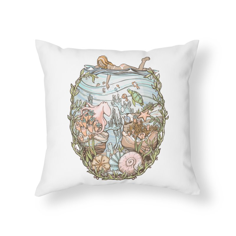 The Peace of Wild Things Home Throw Pillow by Chapman at Sea // surf art by Tash Chapman
