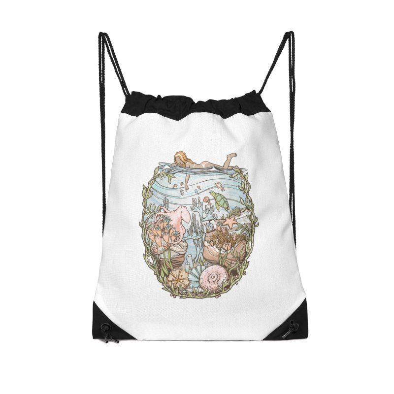 The Peace of Wild Things Accessories Drawstring Bag Bag by Chapman at Sea // surf art by Tash Chapman