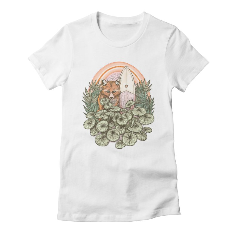 Retro Rider Women's Fitted T-Shirt by Chapman at Sea // surf art by Tash Chapman