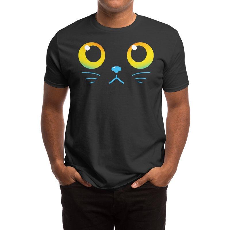 Curious Black Cat Eyes Men's T-Shirt by TechraNova's Shop of adorable designs!