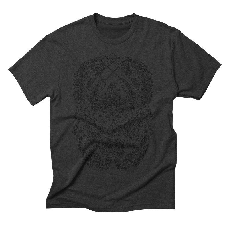 Narwhal Pirates Dark Grey Men's Triblend T-shirt by Teja Jamilla's Artist Shop