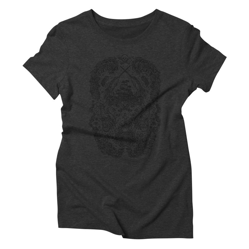 Narwhal Pirates Dark Grey Women's Triblend T-shirt by Teja Jamilla's Artist Shop