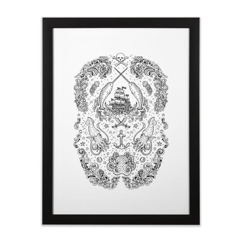 Narwhal Pirates Black Print Home Framed Fine Art Print by Teja Jamilla's Artist Shop