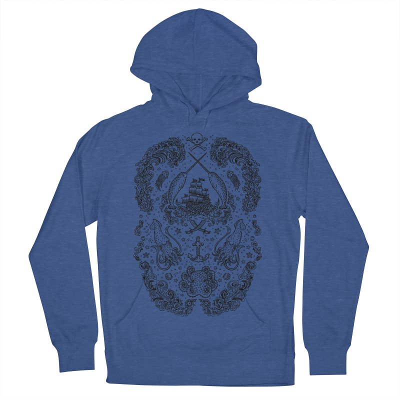 Narwhal Pirates Black Print Women's Pullover Hoody by Teja Jamilla's Artist Shop