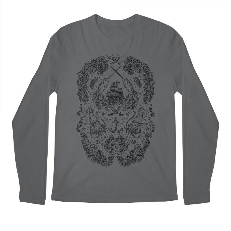 Narwhal Pirates Black Print Men's Longsleeve T-Shirt by Teja Jamilla's Artist Shop