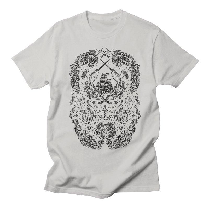 Narwhal Pirates Black Print Men's T-shirt by Teja Jamilla's Artist Shop