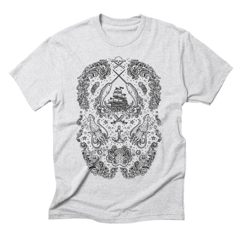 Narwhal Pirates Black Print Men's Triblend T-Shirt by Teja Jamilla's Artist Shop