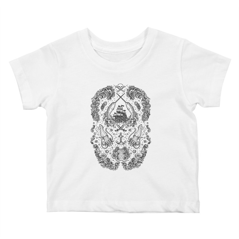 Narwhal Pirates Black Print Kids Baby T-Shirt by Teja Jamilla's Artist Shop