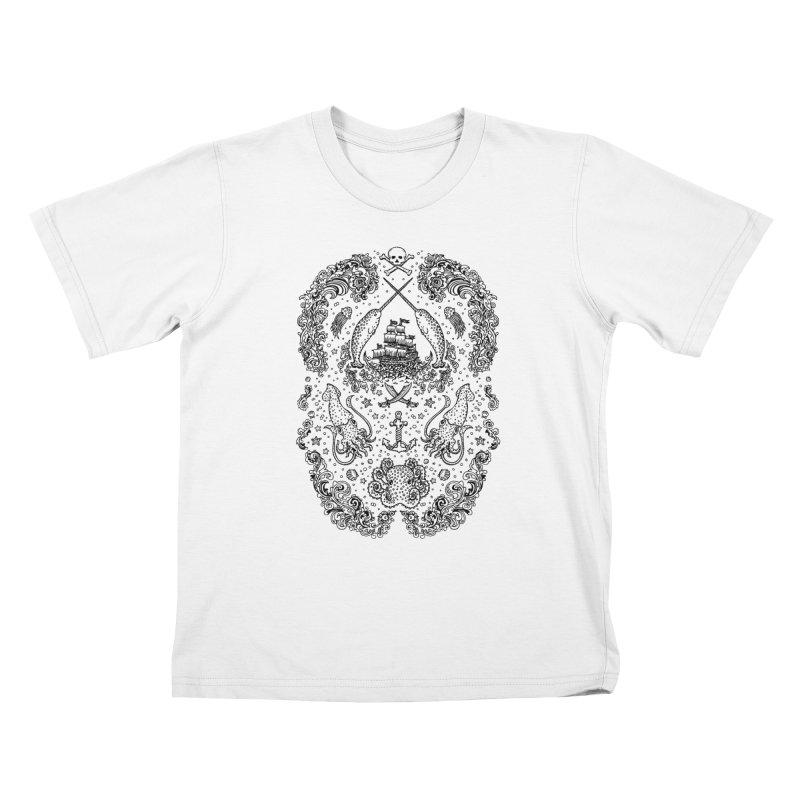 Narwhal Pirates Black Print Kids T-shirt by Teja Jamilla's Artist Shop