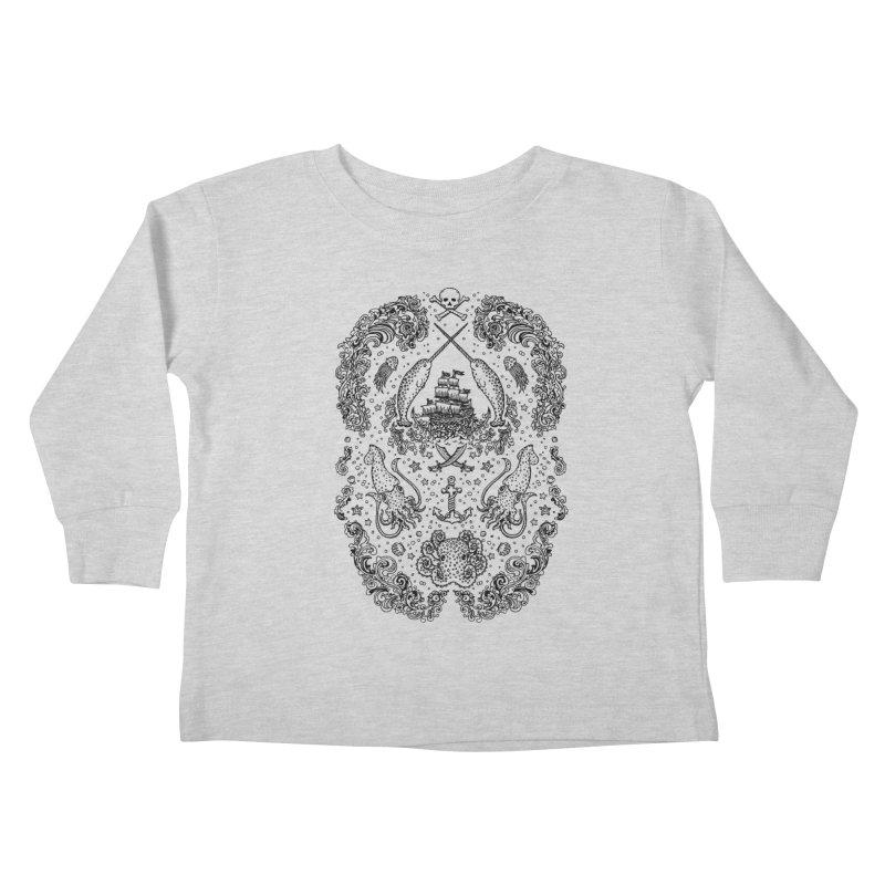 Narwhal Pirates Black Print Kids Toddler Longsleeve T-Shirt by Teja Jamilla's Artist Shop