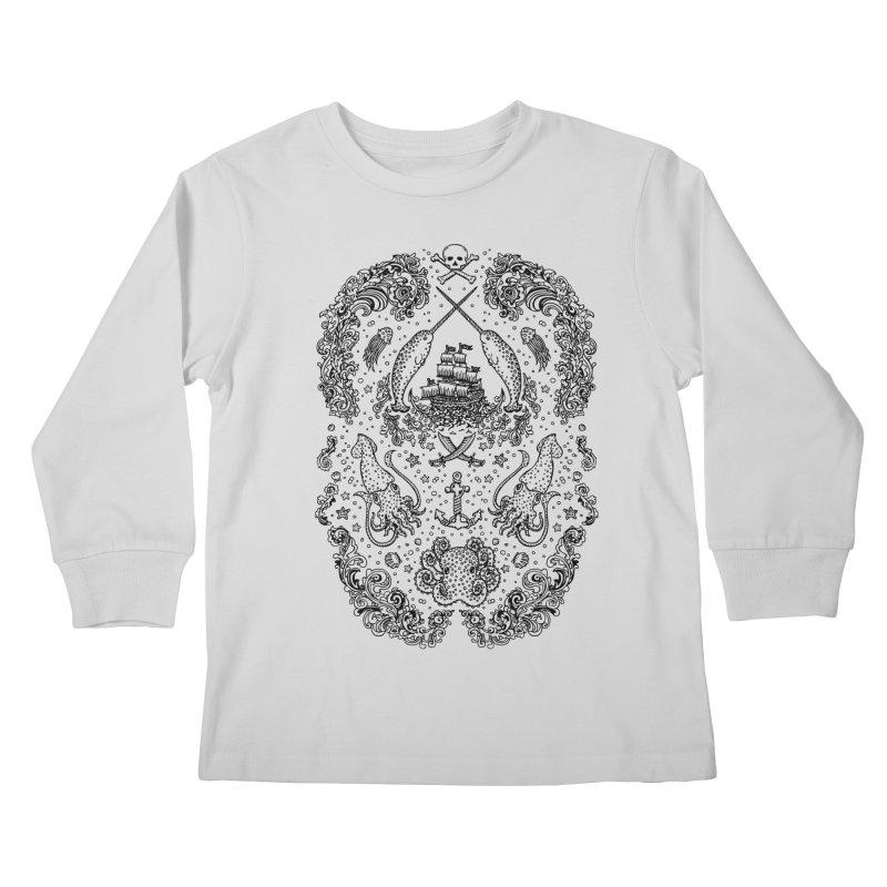 Narwhal Pirates Black Print Kids Longsleeve T-Shirt by Teja Jamilla's Artist Shop